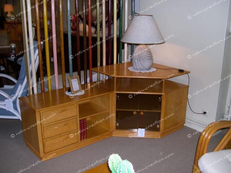 Meuble tv hifi colombo miel   meuble d'angle et côté